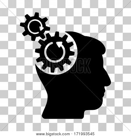 Head Cogs Rotation vector icon. Illustration style is a flat iconic black symbol on a transparent background.