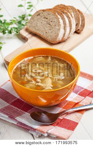 Traditional Polish Tripe Soup With Vegetables.