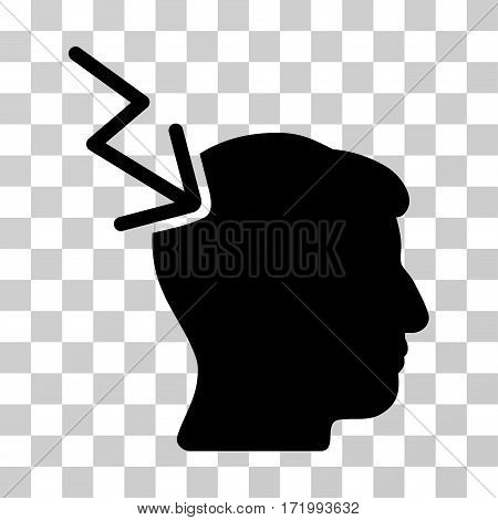 Head Electric Strike vector pictograph. Illustration style is a flat iconic black symbol on a transparent background.