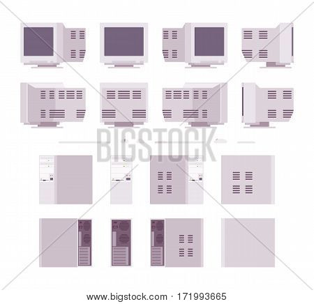 Set of old personal computers with blank screen, keyboard, mouse, system unit, retro office workspace, nostalgic device, different positions, isolated against white background in different views