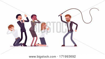 Angry male tyrant manager beating with a whip office workers, punishment for clerks, ruler with absolute power, despot at work, terrible boss behavior, full length, isolated, white background