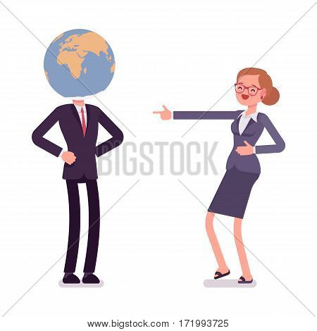 Man wearing a globe on his head, school humor, student deeply interested in geography, person, dreaming of travelling round the world, woman mocking at him, full length, isolated, white background