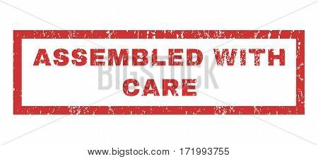 Assembled With Care text rubber seal stamp watermark. Tag inside rectangular shape with grunge design and dirty texture. Horizontal vector red ink sign on a white background.