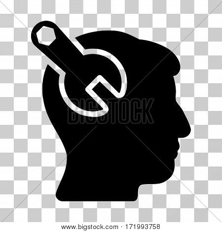 Head Neurology Wrench vector icon. Illustration style is a flat iconic black symbol on a transparent background.