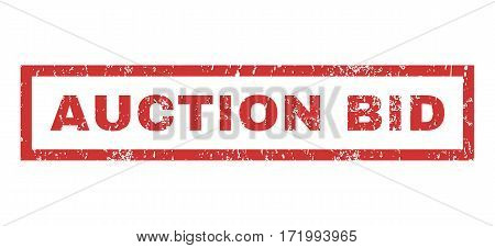Auction Bid text rubber seal stamp watermark. Caption inside rectangular banner with grunge design and dirty texture. Horizontal vector red ink emblem on a white background.