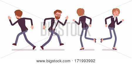 Set of young male and female managers in formal wear, running poses, busy organizing new project, searching for profit, full length, front and rear view, isolated against white background