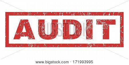 Audit text rubber seal stamp watermark. Caption inside rectangular banner with grunge design and unclean texture. Horizontal vector red ink sign on a white background.