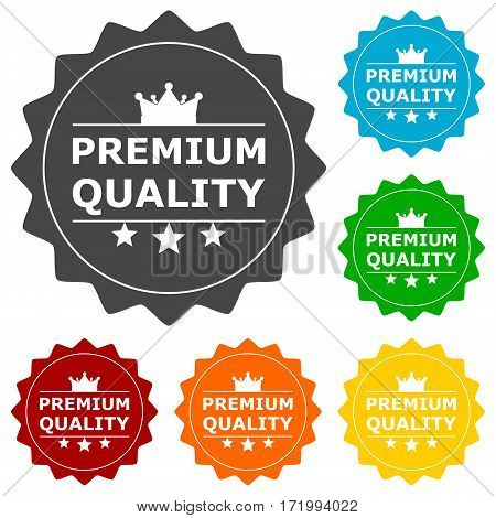 Premium quality buttons set on white background