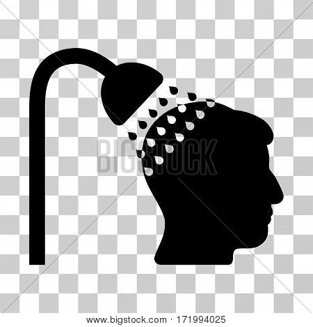 Head Shower vector pictogram. Illustration style is a flat iconic black symbol on a transparent background.