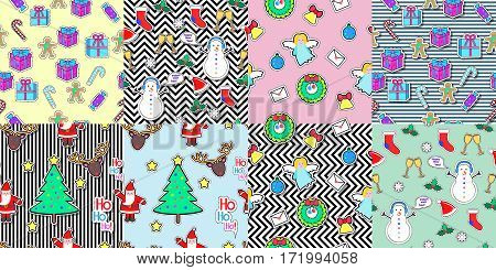 Set of seamless patterns with snowman, socks, speech bubble, mistletoe, snowflakes, glasses, gift boxes, candies, angel, wreath, santa claus, bell tree. Christmas elements in cartoon style. Vector