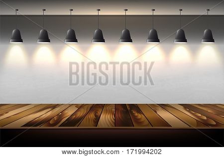 Hanging Shining Lamps With Wall Background And Wooden Floor