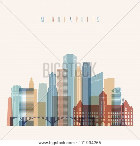 Transparent style Minneapolis state Minnesota skyline detailed silhouette. Trendy vector illustration.