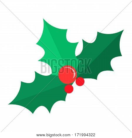 Mistletoe Christmas tree with red balls. Green branches of pine. Simple cartoon style. Part of evergreen tree. Comic illustration in 80s 90s style. Patch New Year. Flat design. Vector illustration
