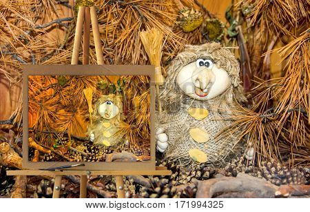 Easel With A Painting Watercolor Illustration Baba Yaga  In Autumn Forest Thicket Photo Manipulation