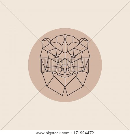 Geometric head wolverine. Abstract polygonal design. Vector illustration.