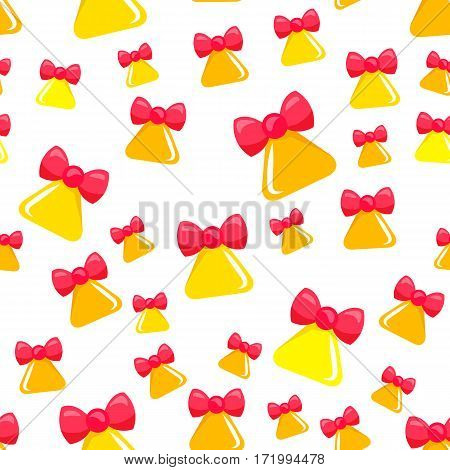 Christmas big yellow bell with red ribbon bow seamless pattern. Bell in triangular shape. Round brinks beneath xmas ringer. Wallpaper design endless texture. Simple cartoon design. Flat style. Vector