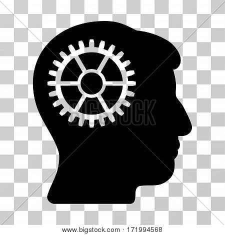 Intellect Cog vector icon. Illustration style is a flat iconic black symbol on a transparent background.