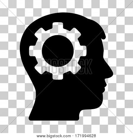 Intellect Gear vector icon. Illustration style is a flat iconic black symbol on a transparent background.