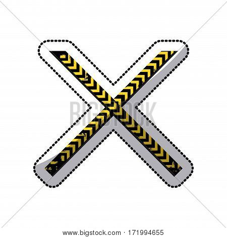 sticker color silhouette with police line tape crossed vector illustration