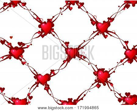 Valentine hearts link abstract background, vector illustration, horizontal
