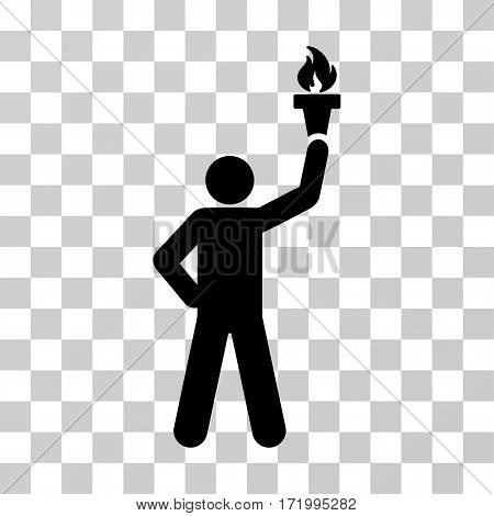 Leader With Freedom Torch vector pictograph. Illustration style is a flat iconic black symbol on a transparent background.
