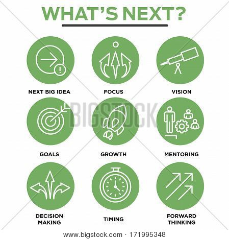 What's Next Icon Set with Big Idea Mentoring Decision Making and Forward Thinking etc Icons