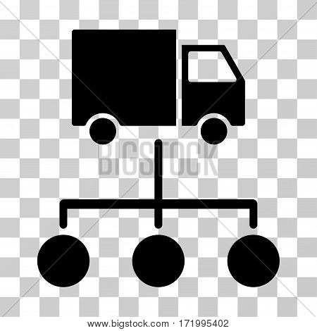 Lorry Distribution Scheme vector icon. Illustration style is a flat iconic black symbol on a transparent background.