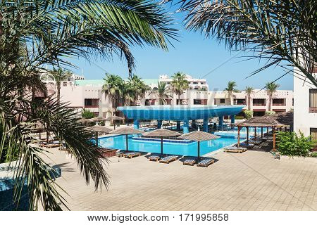 Area Hotel With Pool And Palm Trees In Hurghada. Egypt.