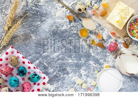 Cooking Recipe Background For The Celebration Of Easter: Quail Eggs, Milk, Sugar, Butter, Dry Yeast