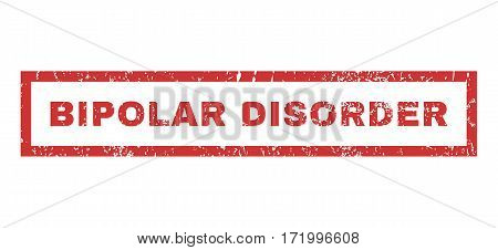 Bipolar Disorder text rubber seal stamp watermark. Caption inside rectangular banner with grunge design and scratched texture. Horizontal vector red ink emblem on a white background.