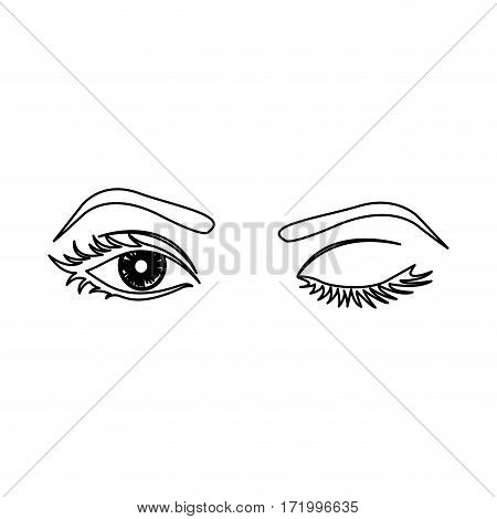 outline winking woman's eyes icon vector illustration
