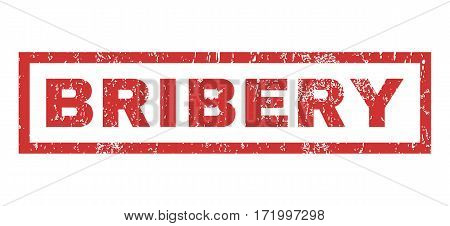 Bribery text rubber seal stamp watermark. Tag inside rectangular shape with grunge design and scratched texture. Horizontal vector red ink sign on a white background.
