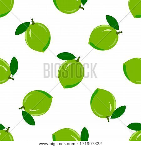 Seamless pattern with ripe juicy lime fruit