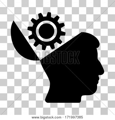 Open Head Gear vector pictograph. Illustration style is a flat iconic black symbol on a transparent background.
