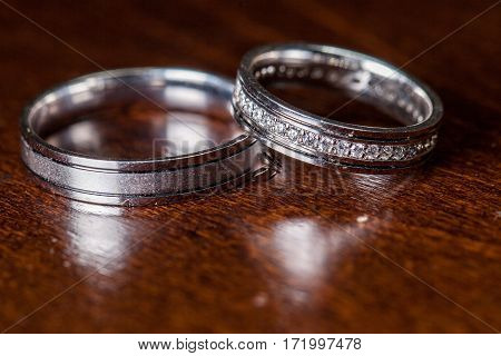 Two wedding ring of white gold marriage symbol
