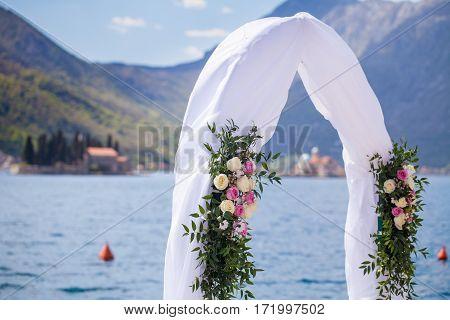 Wedding arch and decoration at Adriatic sea