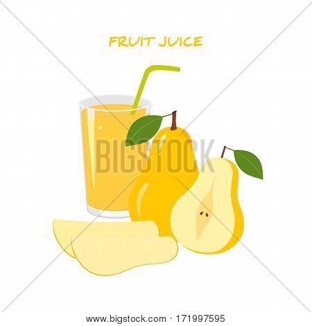 Natural fresh pear juice and ripe pear on a white background.
