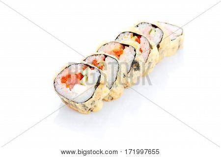 Hot Roll Tempura Royal, salmon, salmon caviar, cream cheese, avocado, on a white background