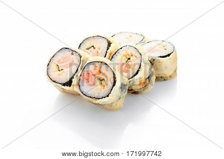 Hot roll Syake tempura, salmon, spicy sauce, cucumber on a white background