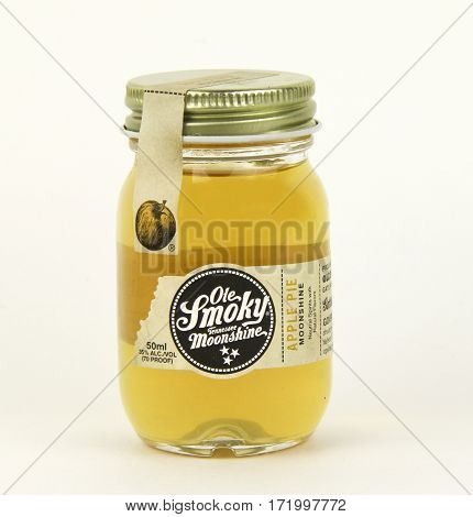 Spencer Wisconsin February 18 2017 Jar of Ole Smoky Tennessee Moonshine Apple Pie Ole Smoky is an American made product by Ole Smoky distillery