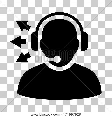 Operator Answer Speech vector pictograph. Illustration style is a flat iconic black symbol on a transparent background.