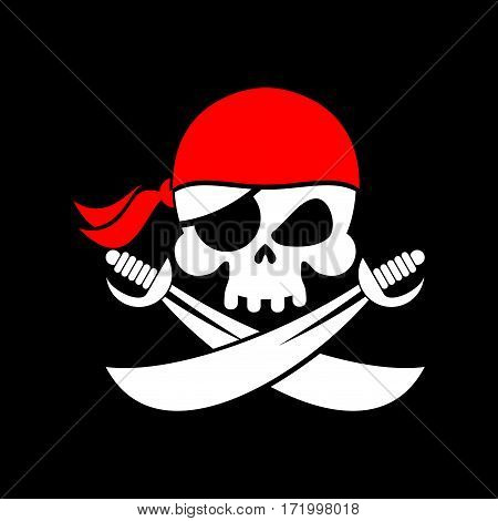 Pirate Flag Skull. Black Banner Filibuster. Head Skeleton Pirates Banner