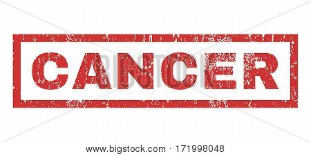 Cancer text rubber seal stamp watermark. Tag inside rectangular shape with grunge design and unclean texture. Horizontal vector red ink sign on a white background.