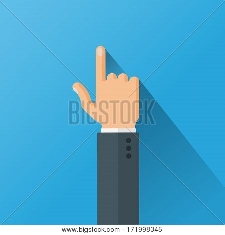 Hand with long shadow in the suit pointing with index finger on blue background. Flat style vector illustration.