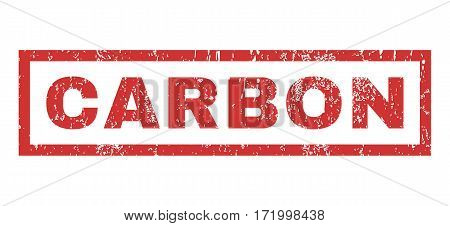 Carbon text rubber seal stamp watermark. Tag inside rectangular banner with grunge design and scratched texture. Horizontal vector red ink emblem on a white background.