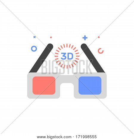 Vector cinema illustration of 3D glasses icon in flat linear style. Graphic design concept of movie glasses Outline object. Use in Web Project and Applications.