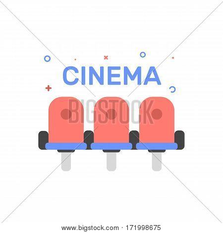 Vector cinema illustration of cinema chair or seats icon in flat linear style. Graphic design concept of invitation to the movie. Outline object. Use in Web Project and Applications.
