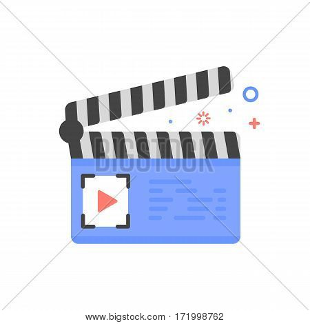 Vector cinema illustration of clapper board icon in flat linear style. Graphic design concept of filming and cinema. Outline object. Use in Web Project and Applications.
