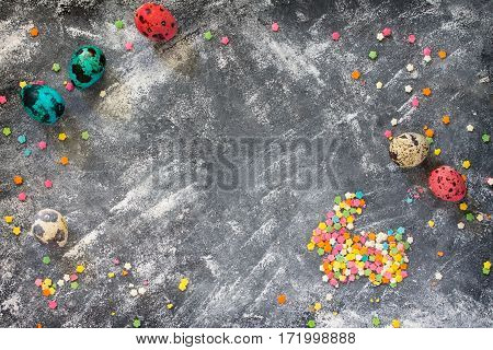 Cooking Recipe Background For The Celebration Of Easter On A Concrete Background. Top View, Copy Spa