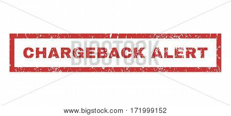 Chargeback Alert text rubber seal stamp watermark. Caption inside rectangular shape with grunge design and unclean texture. Horizontal vector red ink emblem on a white background.